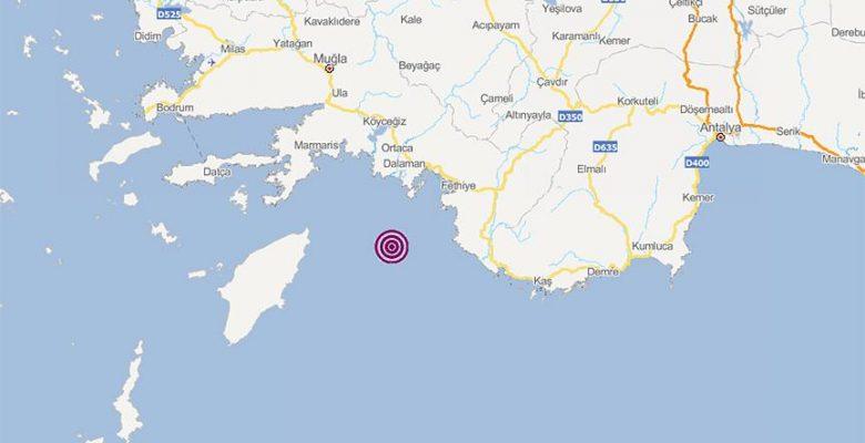 Akdeniz'de 4 büyüklüğünde deprem.