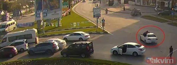 Adana'da polisten nefes kesen operasyon! Aracın üzerine atladı.