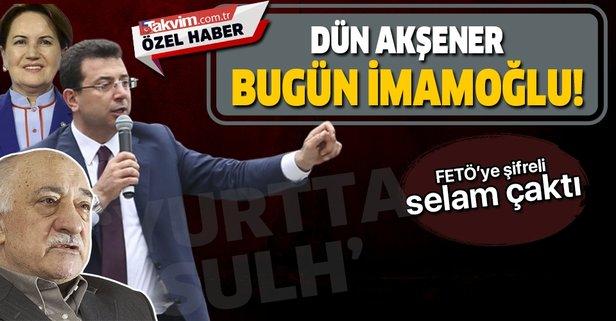 """15 Temmuz darbe girişimini yöneten darbecilere adını veren """"Yurtta sulh"""" sloganı İmamoğlu'nun dilinde."""