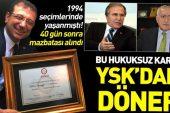 Bu hukuksuz karar YSK'dan döner! 1994 seçimlerinde Mehmet Ali Şahin'in mazbatası 40 gün sonra alınmıştı.