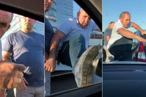 Şehir zorbaları bellerinde tabancayla hamile kadının arabasına saldırdı!