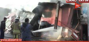 Ataşehir'de Mobilya Fabrikasında Korkutan Yangın.